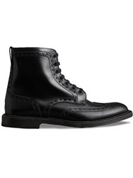 Burberry Brogue Detail Polished Leather Boots Black