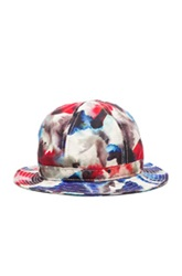 Patrik Ervell Watercolor Print Bucket Hat In Red Blue Ombre And Tie Dye