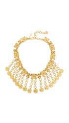 Oscar De La Renta Charm Coin Necklace Gold