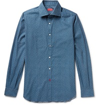 Isaia Slim Fit Floral Print Brushed Cotton Shirt Blue