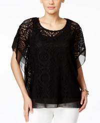 Jm Collection Crochet Chiffon Hem Poncho Top Only At Macy's Deep Black