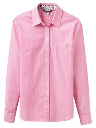Joules Lucie Semi Fitted Stripe Shirt True Pink Stripe