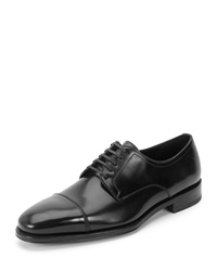Salvatore Ferragamo Lace Up Cap Toe Oxford Black