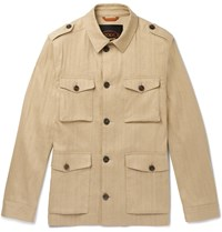 Tod's Sahariana Washed Cotton And Linen Blend Field Jacket Neutrals