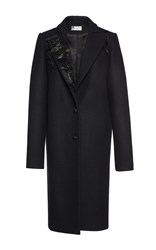 Lanvin Wool Coat With Embroidered Feather Collar Black