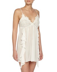 Jonquil Lace Trimmed Sleeveless Short Chemise Ivory Women's
