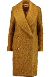 Michael Kors Collection Mohair Blend Coat Mustard