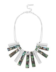 Kenneth Cole Hexed Geometric Abalone Stick Frontal Necklace Silver
