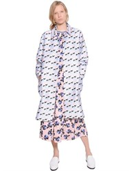Mother Of Pearl Floral Printed Cotton And Silk Coat
