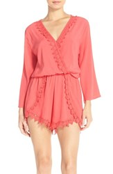 Women's Fraiche By J Lace Trim Crepe Romper Hot Coral