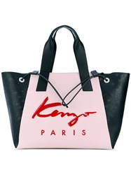 Kenzo Large Signature Tote Women Leather Nylon One Size Pink Purple