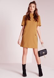 Missguided High Neck Short Sleeve Shift Dress Olive Olive