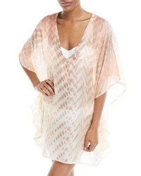 Flora Bella Vilar V Neck Short Silk Kaftan Coverup Pink