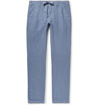 Hartford Troy Slim Fit Linen Chambray Drawstring Trousers Blue