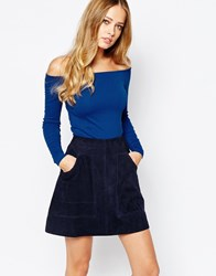 Whistles Exclusive Long Sleeve Top With Bardot Neckline Brightblue