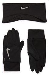 Nike Running Headband And Glove Set Black Silver
