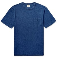 Faherty Indigo Dyed Cotton Jersey T Shirt Blue