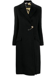 Versace Safety Pin Barroco Lining Coat Black