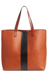 Madewell Paint Stripe Transport Leather Tote Brown English Saddle Stripe