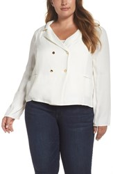 Leith Plus Size Double Breasted Top Ivory