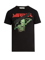 Off White Skeleton And Mirror Print Cotton Jersey T Shirt Black Multi