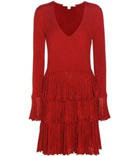 Diane Von Furstenberg Sharlynn Merino Wool Blend Dress Red