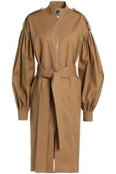 Osman Cotton Blend Twill Trench Coat Light Brown