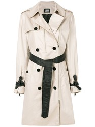 Karl Lagerfeld Ikonik Trench Coat Nude And Neutrals