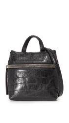 Kara Embossed Croc Micro Satchel Black