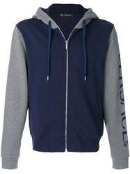 Versace Hooded Bomber Jacket Cotton Blue