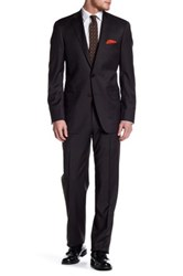 Hart Schaffner Marx Olive Woven Two Button Notch Collar Wool Suit Black