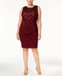 Connected Plus Size Tiered Sequined Sheath Dress Maroon