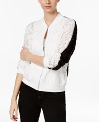 Inc International Concepts Colorblocked Lace Bomber Jacket Only At Macy's Bright White