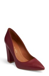 Shoes Of Prey Women's Pointy Toe Pump Red Pebble Leather