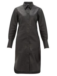 Joseph Brann Leather Shirtdress Black