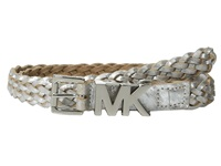 Michael Michael Kors 20Mm Braided Leather Panel On Mk Roller Buckle And Logo Loop Belt Silver Women's Belts