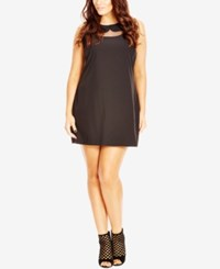 City Chic Plus Size Peter Pan Collar Shift Dress Black