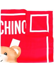 Moschino Toy Bear Paper Cut Out Scarf Red