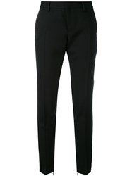 Saint Laurent Slim Fit Trousers Wool Cotton Black
