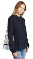 Clu Mix Media Floral Pullover Navy
