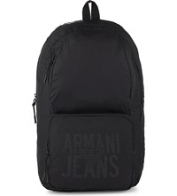 Armani Jeans Packaway Nylon Backpack Black