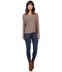 Brigitte Bailey Simi High Low Sweater With Holes Taupe Women's Sweater