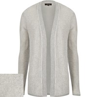 River Island Mens Light Grey Open Front Cardigan