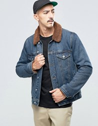 Asos Denim Jacket With Brown Borg In Mid Wash Blue
