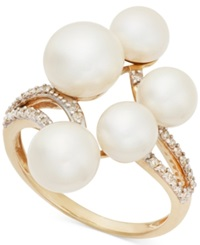 Macy's Cultured Freshwater Five Pearl 6 8Mm Cluster And Diamond 1 6 Ct. T.W. Ring In 14K Gold White