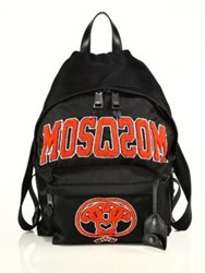 Moschino Embroidered Backpack Black Red