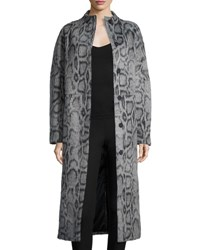 Elizabeth And James Balin Long Animal Print Coat Gray Navy Grey Navy