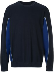 08Sircus Panelled Crew Neck Jumper Blue
