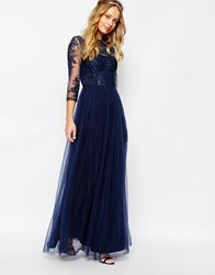 Chi Chi London Bardot Neck Maxi Dress With Premium Lace And Tulle Skirt Navy