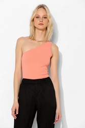 Sparkle And Fade One Shoulder Bodycon Tank Top Peach